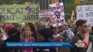 Hundreds rally against white supremacy in Toronto